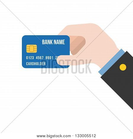 Business hand holding Credit card illustration vector, for campaign of advertise credit, flat design
