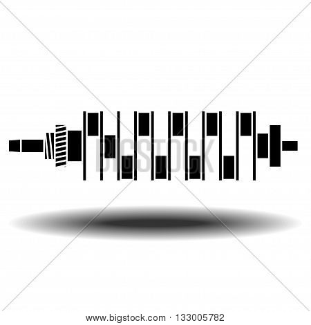 crankshaft of internal combustion engine vector icon with shadow. Flat vector icon on white background