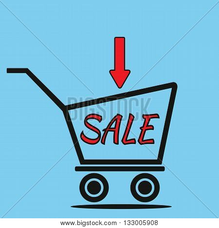 Schematic representation of the shopping trolley the arrow and the inscription SALE. Blue background. Abstract illustration.
