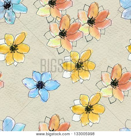 Seamless pattern with colorful flowers. Floral seamless watercolor background. Colorfull hand-drawn flower seamless pattern. Hand-drawn seamless floral background