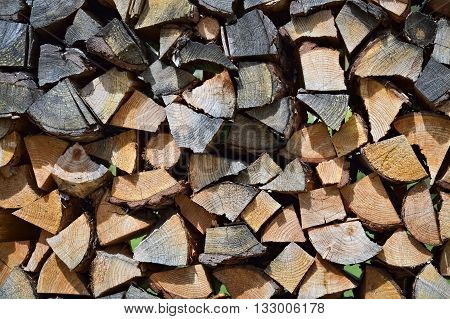 Closeup of a pile of cut and stacked firewood