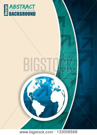 Abstract turquoise blue brochure with arrows and world map