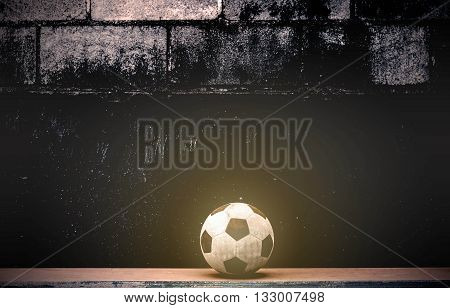 Soccer balls on old wooden at wall.