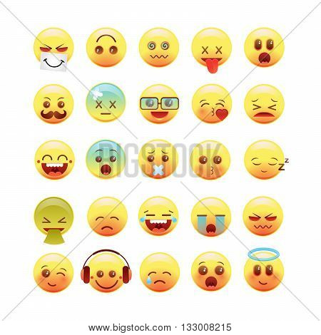 Vector emotional face icons, face, fun, funny