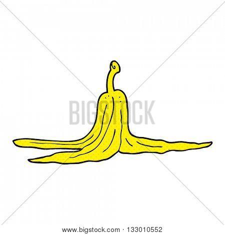 freehand drawn cartoon banana peel