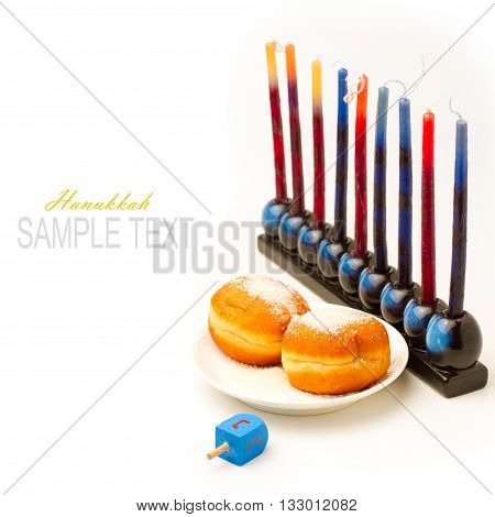 Jewish holiday Hanukkah set with candles and dreidel