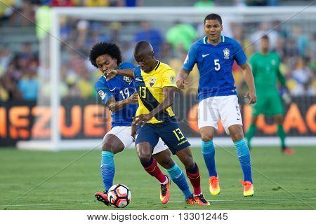 PASADENA, CA - JUNE 4: Enner Valencia & Willian during the COPA America game between Brazil & Ecuador on June 4th 2016 at the Rose Bowl in Pasadena, Ca.