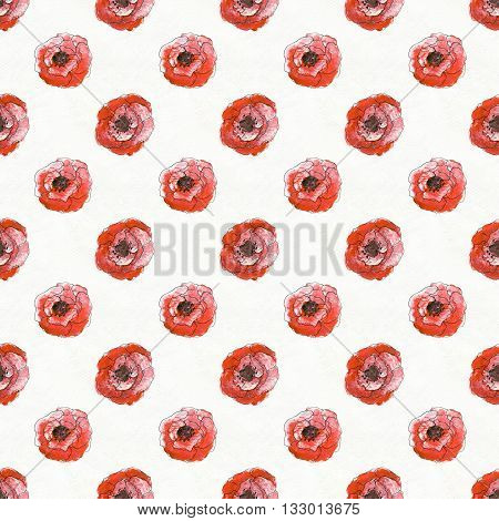 Seamless pattern with briar roses. Floral seamless watercolor background. Red flower seamless pattern. Hand-drawn illustration