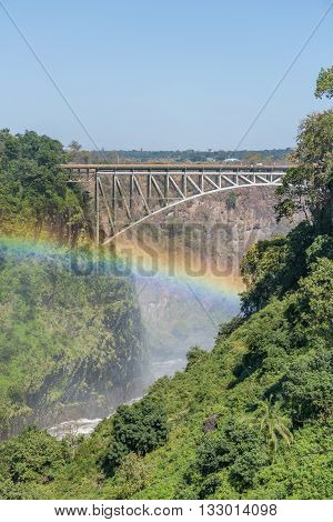 Close-up Of Rainbow Beneath Victoria Falls Bridge