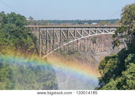 Close-up Of Rainbow Under Victoria Falls Bridge