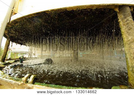 Water fall down Inside small Cooling Tower