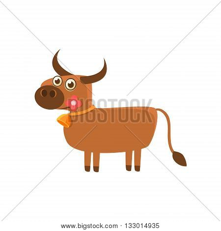 Bull With The Flower and A Bell Illustration. Funny Childish Vector Bull Drawing. Flat Isolated Cartoon Animal Icon.