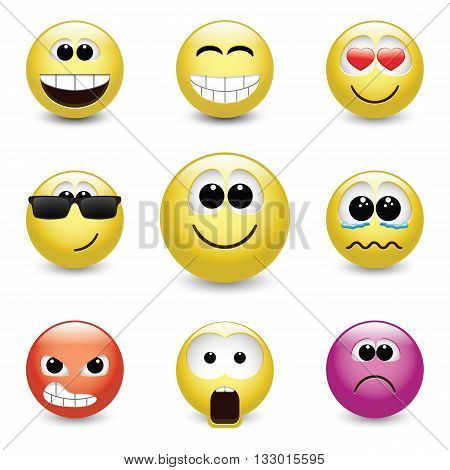 Set of different emotions, smiley faces expressing different feelings