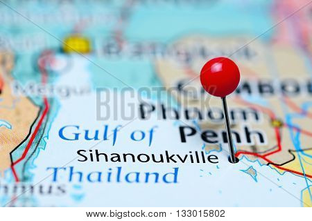 Sihanoukville pinned on a map of Cambodia
