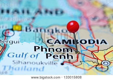 Phom Penh pinned on a map of Cambodia