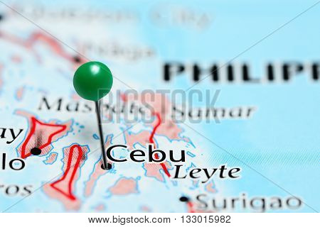 Cebu pinned on a map of Philippines