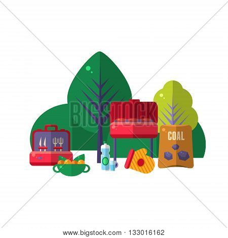 Barbeque In Park Items Set. Picnic Outdoors Flat Vector Illustration. Weekend Picnic In Nature Bright Color Set Of Objects.