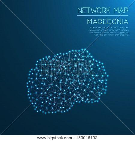 Macedonia, The Former Yugoslav Republic Of Network Map. Abstract Polygonal Map Design. Internet Conn