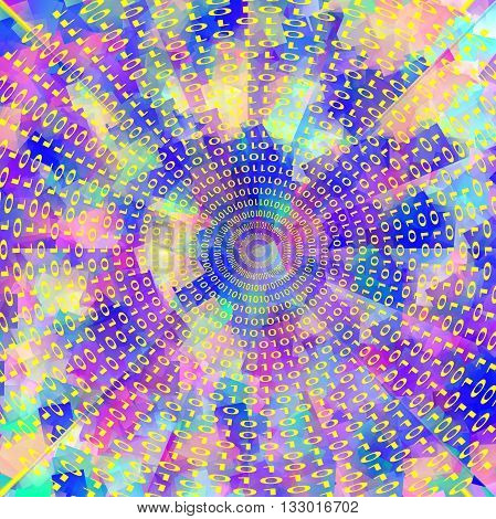 Abstract coloring gradients background with visual cubism and illusion effects,binary code numbers one and zero