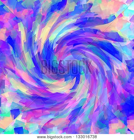 Abstract coloring gradients background with cubism,illusion and twirl effects