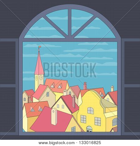 City rooftop. Old western cityscape Concept. Old town panoramic view from window. Building rooftops blue sky clouds. Vector Illustration
