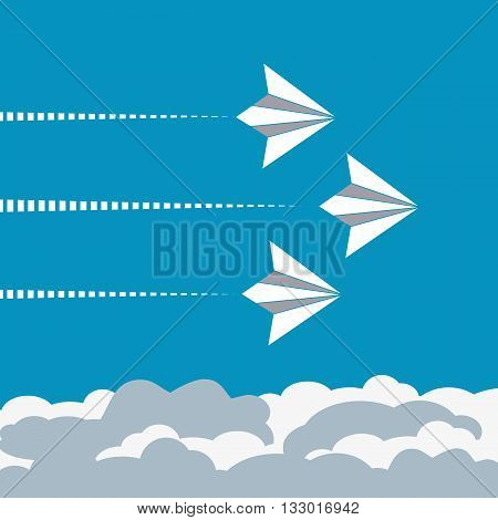 Paper planes poster. Origami paper airplanes. Presentation poster template. Start up Concept. Banner advertising airline travel business with flying folded paper airplanes. Vector Illustration