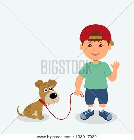 Boy and dog isolated on the white background. Kid friendly waving hand holding his puppy on a leash. Vector illustration child and puppy best friends.
