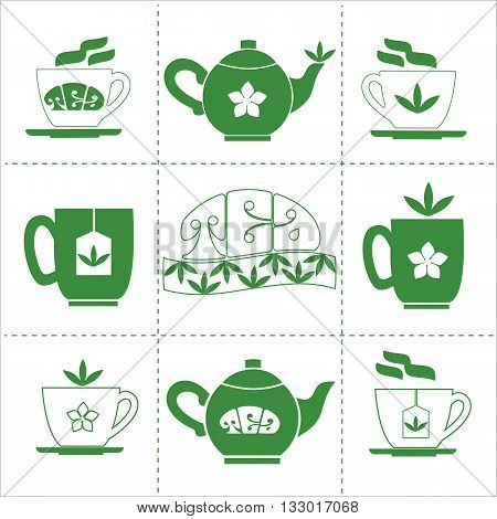 Tea time concept. Pot cup mug with Jasmine Green Tea. Hot healthy drink logo. Jasmine flower tea leaves isolated. Cafe menu restaurant or bar decoration. Vector illustration