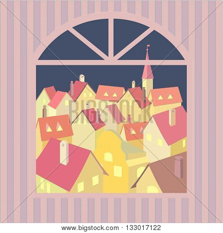 City rooftop. Old western cityscape Concept. Old town night panoramic view from window. Building rooftops. Vector Illustration