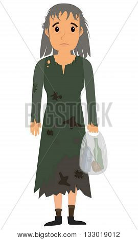 Homeless woman in dirty old clothes whith bag in hand. Vector flat cartoon illustration