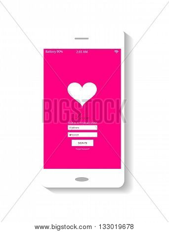 flat mobile interface pin color with heart icon
