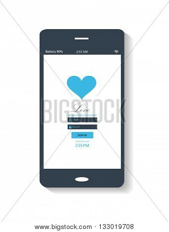 flat mobile interface with heart icon blue