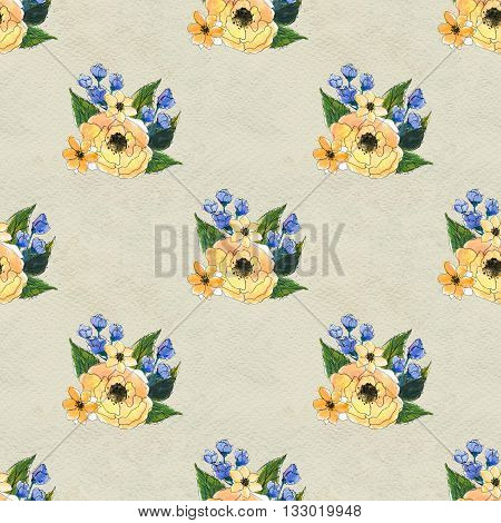 Floral seamless watercolor pattern. Seamless hand drawn background with flowers. Floral illustration seamless pattern