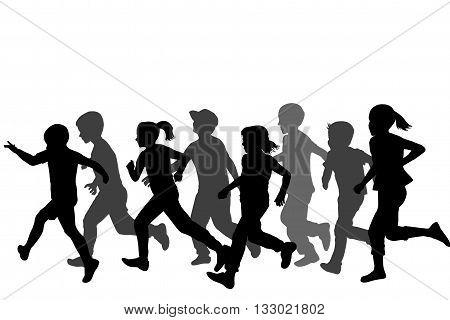 Children black silhouettes running on white background
