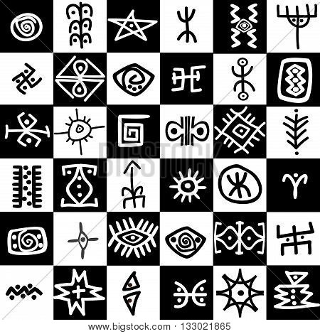 Black and white squares background with ethnic motifs