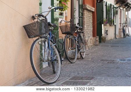 Bicycle on a street in Italy (Caorle). Summer 2014.