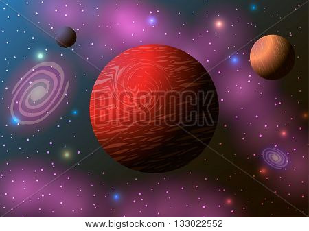 Vector illustration. Planets in space and pink nebula.