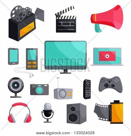 Multimedia icons set in cartoon style isolated on white background