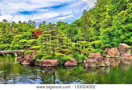 Traditional Japanese garden Koko-en in Himeji, Japan