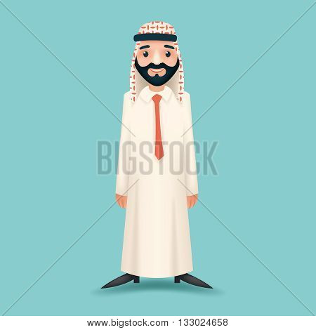 3d Realistic Businessman Sale Presentation Cartoon Character Arab Traditional National Muslim Clothes White Board Icon Stylish Background Retro Cartoon Design Vector Illustration
