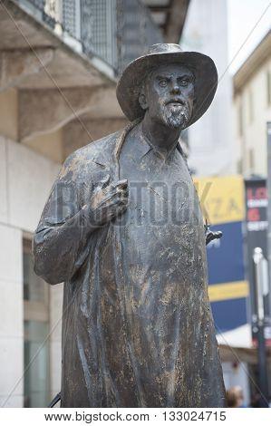Italy Verona - JULY 31 2014: The monument to the poet of Verona Berto Barbarani.
