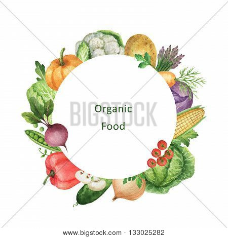 Watercolor painted organic vegetables. Design element for a healthy lifestyle, diet menu and eco food. Place for your text.