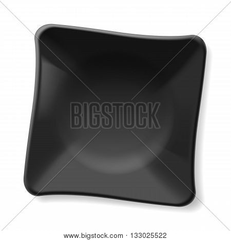 Empty black plate isolated on white background