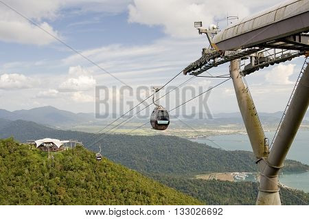 Malaysia, Langkawi - January 24, 2010: Ski Lift In The Mountains Of Langkawi Island.