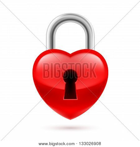 Padlock as red heart with key hole. Life or love in safe