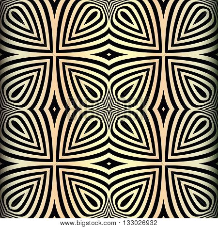 vector illustration of golden circle seamless pattern in art deco style