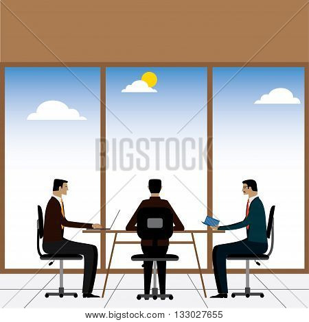 Businessmen Or Executives In A Meeting Or Discussion - Vector Graphic.