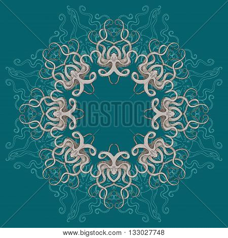 Card with octopus circular ornament. Round Pattern Mandala with feelers. Floral round pattern for the greeting card or invitation template frame card design vector illustration.