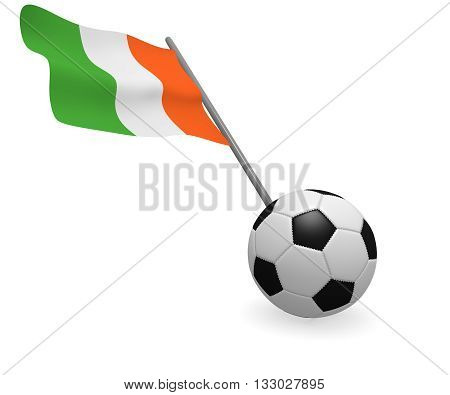 Soccer ball with the flag of the Republic of Ireland