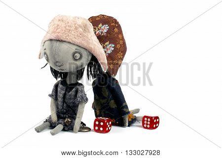 Rag sad dolls on the white background